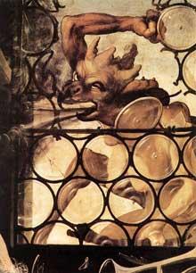Retable d'Issenheim. Polyptyque fermé. Saint Antoine l'Ermite. Détail. Vers 1515. Huile sur bois. Colmar, Musée Unterlinden
