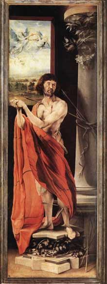 Retable d'Issenheim. Polyptyque fermé. Saint Sébastien. Vers 1515. Huile sur bois, 232 x 75 cm. Colmar, Musée Unterlinden