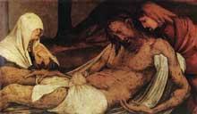 Retable d'Issenheim. Prédelle de la déploration du Christ. Détail. Vers 1515. Huile sur bois, 76 x 341. Colmar, Musée Unterlinden