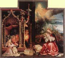Retable d'Issenheim. Polyptyque ouvert I. Partie centrale: le concert des anges et la nativité.Vers 1515. Huile sur bois. Musée d