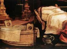 Retable d'Issenheim. Polyptyque ouvert I. Partie centrale: la Nativité, détail. Vers 1515. Huile sur bois. Musée d