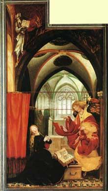 Retable d'Issenheim. Polyptyque ouvert I, panneau latéral: l'Annonciation. Vers 1515. Huile sur bois, 269 x 141 cm. Colmar, Musée Unterlinden
