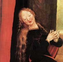 Retable d'Issenheim. Polyptyque ouvert I, panneau latéral: l'Annonciation, détail. Vers 1515. Huile sur bois, 269 x 141 cm. Colmar, Musée Unterlinden