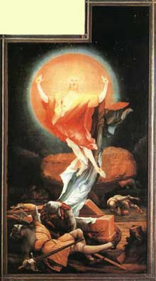 Retable d'Issenheim. Polyptyque ouvert I, panneau latéral: la Résurrection. Vers 1515. Huile sur bois, 269 x 141 cm. Colmar, Musée Unterlinden