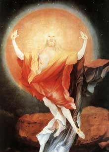Retable d'Issenheim. Polyptyque ouvert I, panneau latéral: la Résurrection, détail. Vers 1515. Huile sur bois, 269 x 141 cm. Colmar, Musée Unterlinden