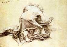 Un apôtre de la Transfiguration. Vers 1511. Dessin, 14,8 x 26,3 cm. Dresde, Staatliche Kunstsammlungen