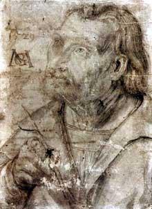 Autoportrait. 1512-1514. Dessin, 20,6 x 15,2 cm. Erlangen, Universitätsbibliothek