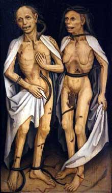 Les amants trépassés. Ecole allemande,XVIè. L'œuvre fut longtemps attribuée à Mathis Grünewald. Strasbourg, musée des beaux arts
