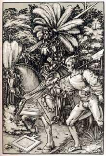Johann Waechtlin: le chevalier et le valet. Vers 1500. Gravure sur bois. Strasbourg