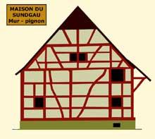 Maison à colombages du Sundgau: mur-pignon. (La maison alsacienne)