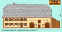 Orbey en «pays welche»: maison alsacienne de type vosgien du Bas d'Orbey. Façade sud. (La maison alsacienne)