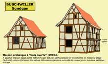 Buschwiller, Sundgau: maison archaïque à «bois courts» du XVIIIè. (La maison alsacienne)