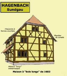 Hagenbach (Sundgau): maison à «bois longs» de 1683. (La maison alsacienne)