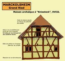 Marckolsheim, Grand Ried: maison archaïque du XVIIè siècle à «Kniestock». (La maison alsacienne)