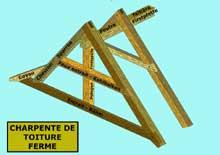 Structure de charpente: ferme du toit avec faux entrait. (La maison alsacienne)