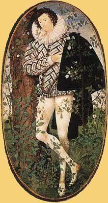 Nicholas Hilliard (1547-1619): portrait d'un inconnu au rosier. 1588.  Londres, Victoria and Albert Museum