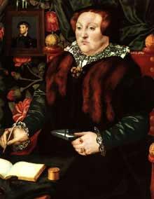Hans Eworth (actif entre 1540 et 1574): Portrait de Lady Dacre. 1540; huile sur panneau de bois, 74 x 58 cm. Ottawa National Gallery of Canada