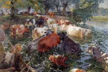 Emile Claus (1849-1924): Vaches traversant la Lys. 1899. Huile sur toile, 200x305cm. Bruxelles, Musées royaux des Beaux-Arts de Belgique