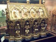 La châsse de Saint Eleuthères. Trésor de la cathédrale de Tournai. Vers 1250