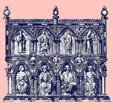 La châsse de Saint Eleuthères, détail. Trésor de la cathédrale de Tournai. Vers 1250