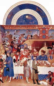 Les frères Limbourg. «Les très riches heures du Duc de Berry»: Janvier. 1412-1416, 22,5 x 13,6 cm. Musée Condé, Chantilly