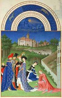 Les frères Limbourg (Pol, Hermann et Jean, actifs entre 1370 et 1416): Les «très Riches Heures du Duc de Berry». Le Mois d'avril. Condé, Musée Chantilly