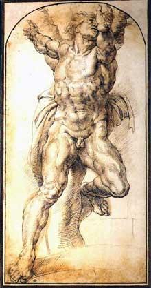Pierre Paul Rubens: Aman. Copie d'après la voûte de la chapelle Sixtine. Plume avec rehauts à l'huile. 42x21,5cm. Paris, musée du Louvre, cabinet des dessins