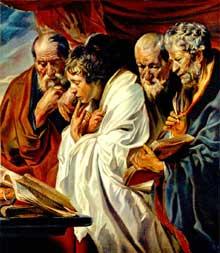 Jacques Jordaens: les quatre évangélistes. 1620-1625. Huile sur toile, 133 x 118 cm. Paris, musée du Louvre