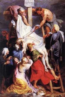 Descente de croix. 1616-17Huile sur toile, 425 x 295 cm. Lille, Musée des Beaux-Arts