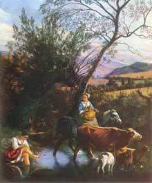 Jean Siberechts: le gué. 1672. Huile sur toile, 71,8 x 59,6 cm.. Budapest, Musée des Beaux Arts