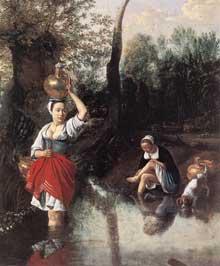 Jean Siberechts: le passage du gué. 1672. Huile sur toile, 120 x 160 cm. Anvers, Musée royal des Beaux Arts