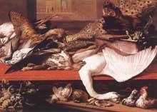 Franz Snyders: nature morte à l'oie. 1614. Huile sur toile, 156 x 218 cm. Cologne, Wallraf-Richartz Museum