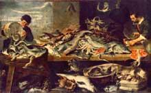Franz Snyders: l'étal de poissons. Huile sur toile, 210 x 340 cm. Saint-Pétersbourg, musée de l'Hermitage