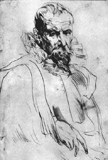 Antoine Van Dyck: Portrait de Pieter Bruegel le Jeune. Plume. Haarlem, Teylers Museum