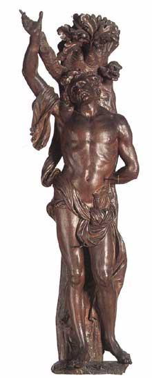 Artus Quellin le jeune: saint Sébastien. Bois, 150cm. Anvers, Musées royaux des Beaux Arts