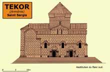 Tékor en Arménie: l'église saint Sargis: restitution du côté sud