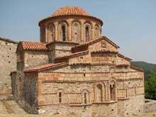Mistra: les saints Théodores du Brontochion, façade est. Croix grecque à dôme octogonal. 1290-1295