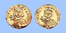 Monnaie de LéonIII l'Isaurien et de son fils ConstantinV