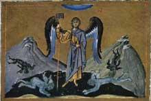BasileII le Bulgaroctone représenté en ange et terrassant les démons. Enluminure du Ménologe de BasileII, Bibliothèque vaticane