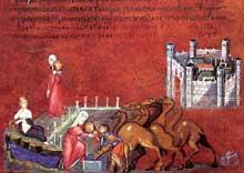 Rebecca et le serviteur d'Abraham. Folio de la Genèse de Vienne. Art byzantin, entre 500 et 600.