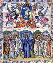 Enluminure de l'Evangéliaire syriaque du moine Rabula (586). L'ascension. Florence, bibliothèque laurentine