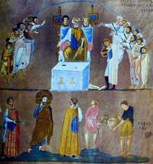 Codex Rossano: Jésus devant Pilate. Italie, VIè