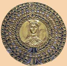 Médaillon byzantin. Ve siècle. Email sur fil d'or. Paris, Bibliothèque Nationale, Cabinet des Médaille