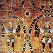 Suaire de Saint Victor. VIII-IXè. Soie. Trésor de la cathédrale de Sens