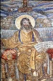 Rome, sainte Pudentienne: mosaïque de l'abside. Le Christ de gloire. Vers 390