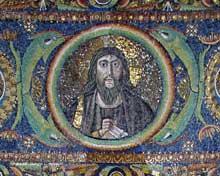 Ravenne, saint Vital: le Christ Pentocrator. Détail de la voûte