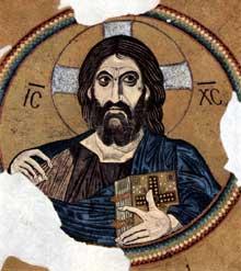 Daphni en Grèce: la Christ Pantocrator. Vers 1100. Mosaïque de la coupole