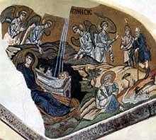 Daphni en Grèce: la Nativité. Vers 1100. Mosaïque de la nef
