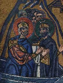 Chio: monastère de Néa Moni: mosaïque du Christ aux enfers: détail: résurrection des rois