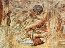 Castelseprio en Lombardie: fresques de l'église paroissiale: le songe de Joseph
